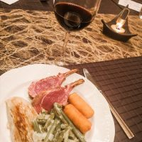Wine 'n dine: White onion & truffle soup - Rack of lamb with madeira sauce, creamy snap beans and chicory